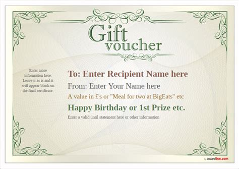 sle gift vouchers templates free gift voucher template designs to print or