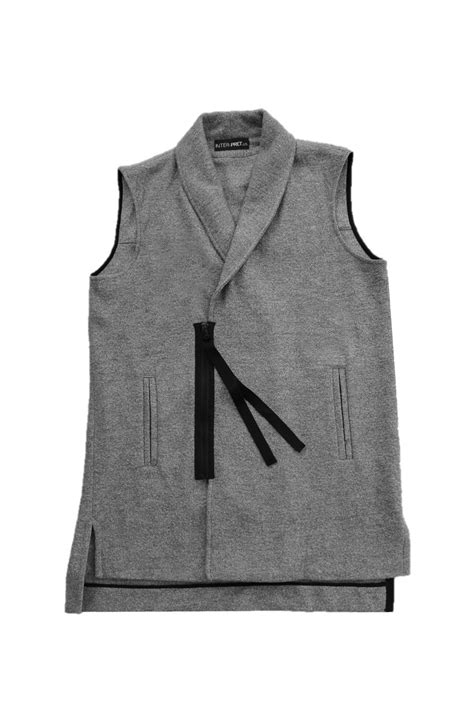 Sweater Inter inter pret us sleeveless shawl collar cardigan in gray for lyst