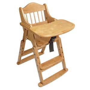 High Chairs folding multi height wooden safety baby and child high chair natural