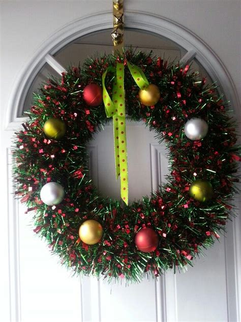 tinsel christmas wreath diy christmas pinterest