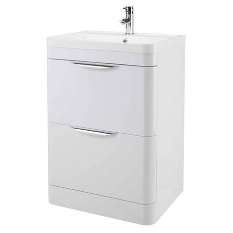 Single Vanity Cabinet High Gloss White Curved 800mm 2 Draw Floor Standing Vanity