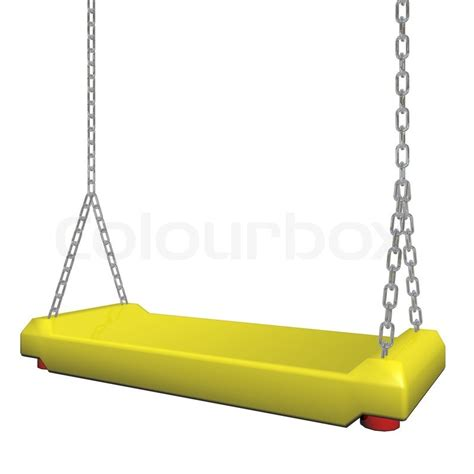 swing 3d yellow swing hanging on a chain 3d illustration stock