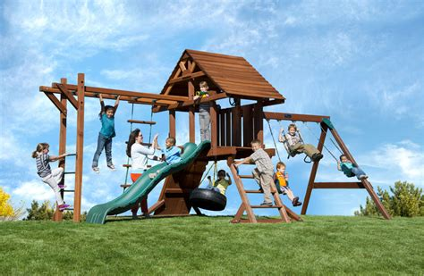 swing and slide monkey bars two ring wood swing set for kids with monkey bars slide
