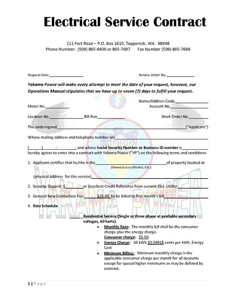 electrician contract template best photos of service contract template free service
