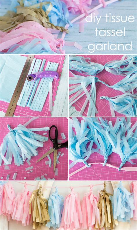 How To Make Tissue Paper Tassel Garland - diy tissue tassel garland project nursery