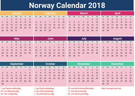 Kalender 2018 Med Helligdager 2018 Godt Nytt 229 R Norsk Kalender Gratis Printable