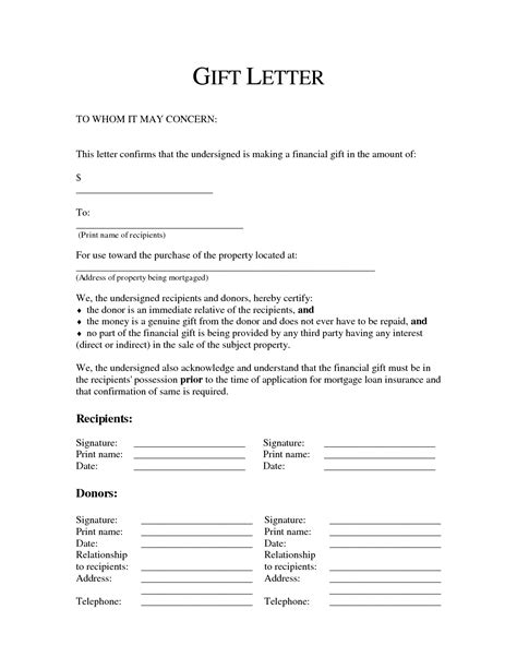 mortgage payment gift letter template 8 best images of mortgage gift letter sle