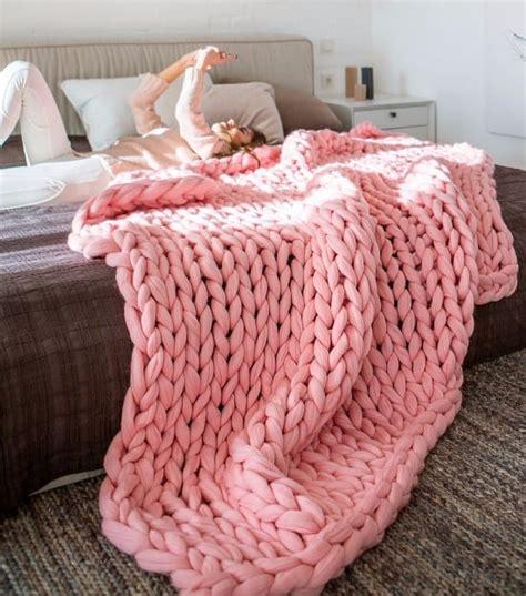 chunky knit blanket pattern yarn video tutorial diy