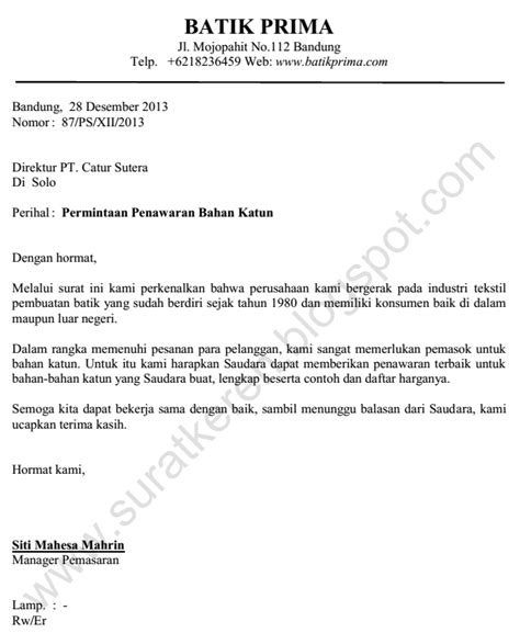 Surat Niaga Surat Penawaran by Surat Permintaan Penawaran Katun