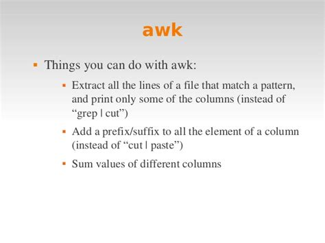 awk pattern matching exles linux intro 4 awk makefile
