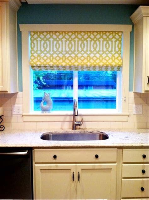 yellow kitchen blinds shades on kitchen windows