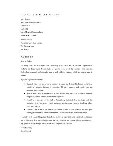 Basic Sle Cover Letter by Basic Route Sales Representative Cover Letter Sles And Templates