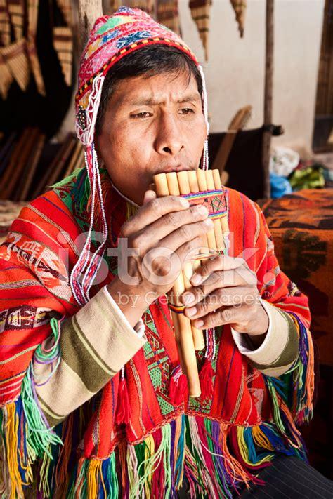 Portrait of Peruvian Man Playing A Siku (panpipe), Pisac