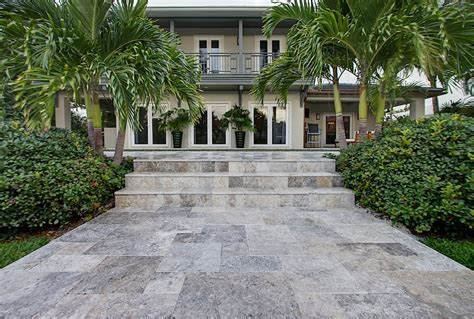 silver paver pool copings french pattern