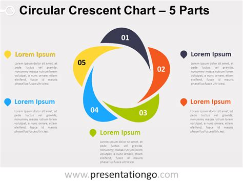 free circular layered diagram for powerpoint 5 parts circular crescent powerpoint chart presentationgo