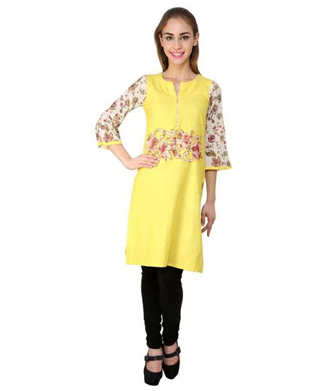 yellow kurti pattern yahvi designs yellow cotton kurti price in india buy