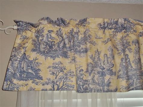 Waverly Toile Curtains Waverly Yellow Blue Country Toile Valance Discontinued Fabric Ebay