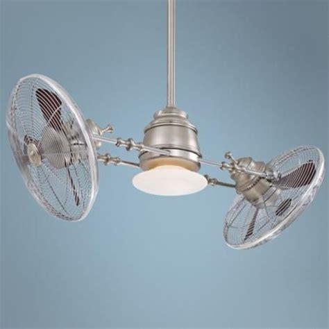 gyro twin ceiling fan minka aire vintage gyro brushed nickel chrome ceiling fan