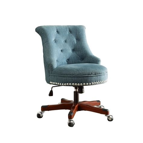 aqua swivel desk chair armless upholstered office chair in aqua 178403aqua01u