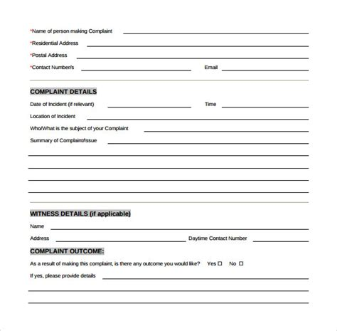 customer complaint form template sle customer complaint form exles 8 free