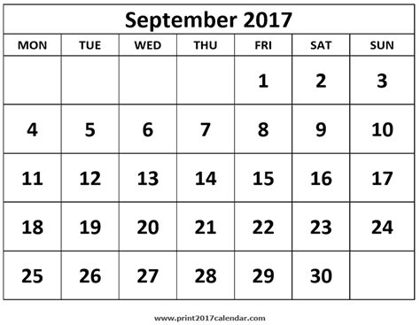 printable calendar sept oct 2017 printable september 2017 calendar