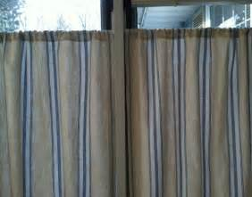 Blue Ticking Curtains Cafe Curtains Lined Ticking In Blue By Smalltownseamstress