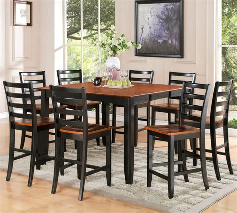 square counter height dining table seats 8 9pc parfait square counter height table and 8 microfiber