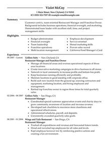 Resume Example Restaurant by Franchise Owner Resume Example Restaurant Amp Bar Sample