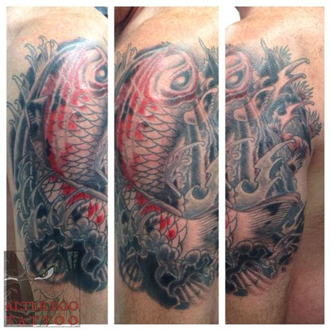 tattoo cover up knoxville tatted4life80 koi coverup koi fish asian japanese coverup