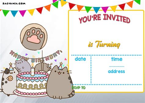 Cat Birthday Card Template by Free Printable Pusheen Birthday Invitation Template