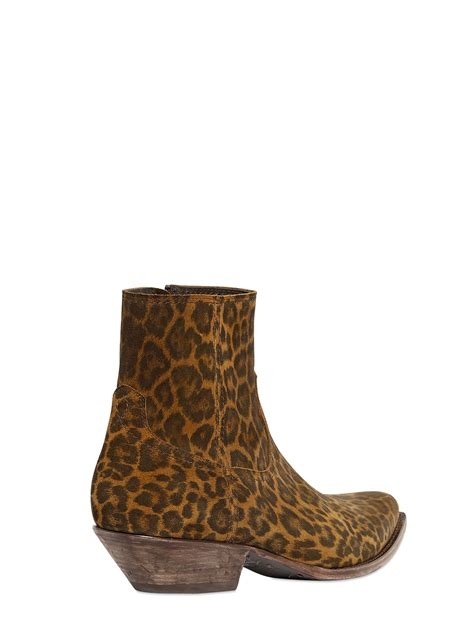 laurent 40mm leopard printed suede ankle boots in