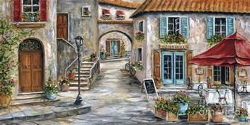 Paris Themed Wall Murals tuscan street scene painting by marilyn dunlap