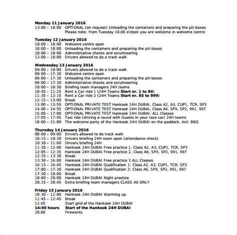 clock schedule template sle time schedule 8 documents in pdf word
