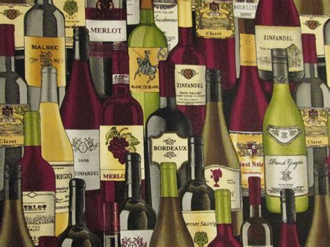 Wine Vase Name by Bottle Wine Bottles Names Cotton Fabric Fq Ebay