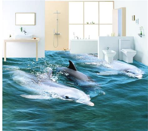 Dolphin Wallpaper For Bathroom by Custom 3d Mural Wall Paper Three Dimensional Large Mural