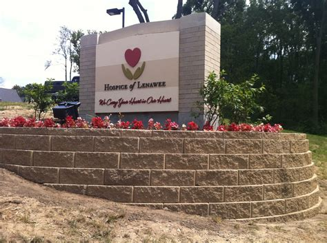 Landscape Design Around Signs Sign Landscaping For Hospice Of Lenawee Green Borders