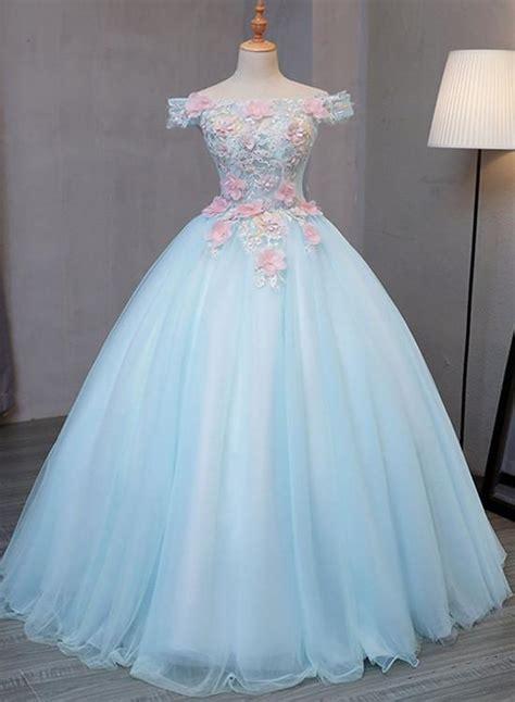 light blue  shoulder tulle princess sweet  dresses