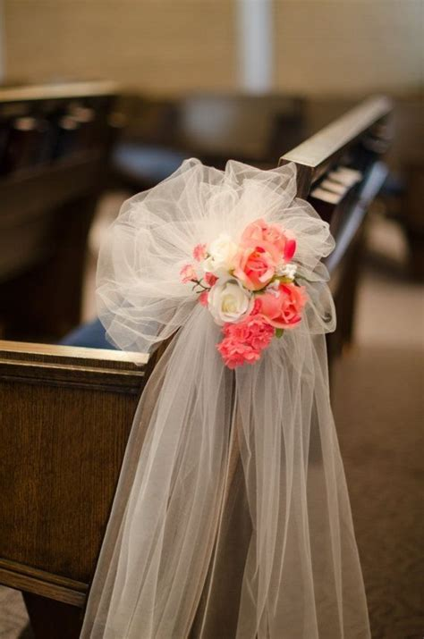 Church Pew Wedding Decorations by Coral Flowers Chair Decor Ivory White Chiffon Decor For