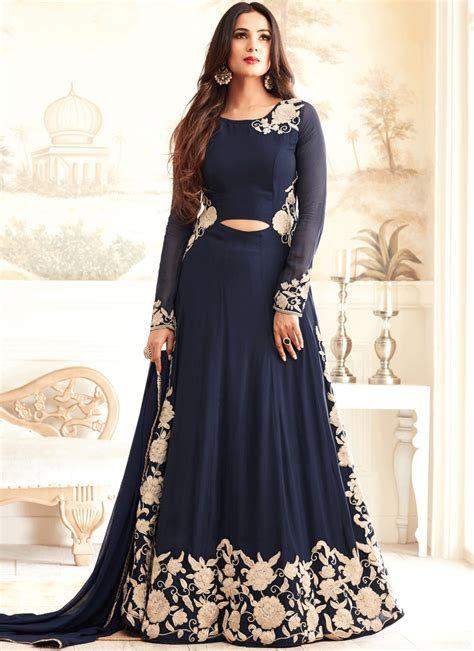 sonal chauhan designer suits sonal chauhan navy blue georgette designer suit