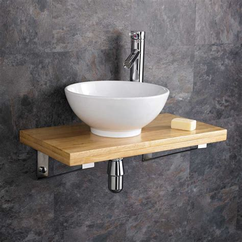 32cm ceramic bathroom sink 60cm wood shelf wall hung cloakroom basin set ebay