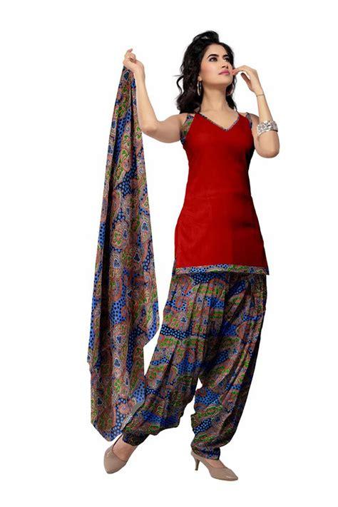 red cotton printed punjabi salwar kameez 28978
