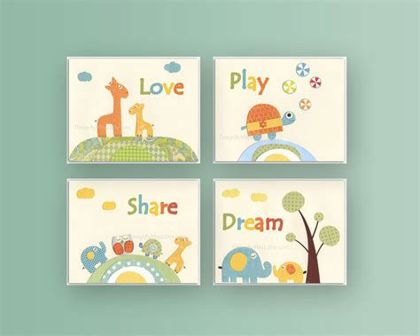 Baby Nursery Wall Decor Baby Room Nursery Decor Baby Wall Set 4 By Designbymaya