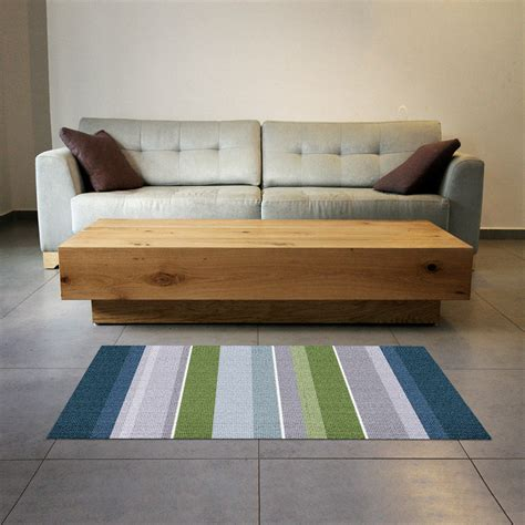 teppich pvc printed linoleum rug strips in green blue and grey