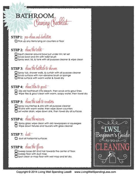 deep clean bathroom checklist cleaning supply 101 cleaning guide beginner s printable cleaning checklist