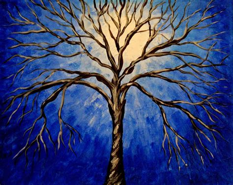 acrylic painting of trees items similar to midnight tree original acrylic abstract