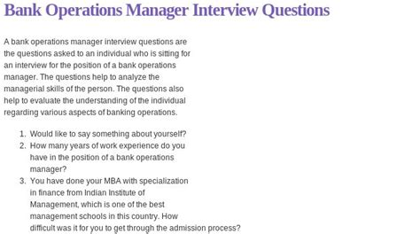 bank operations manager questions read more