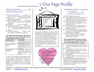 One Page Profile Template by One Page Profiles