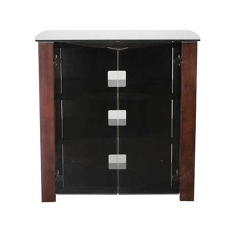 Audio Cabinet With Glass Door Sanus Designer Series Wood Glass Audio Cabinet For 26 37 Inch Screens Chocolate Dfav230 Ch1