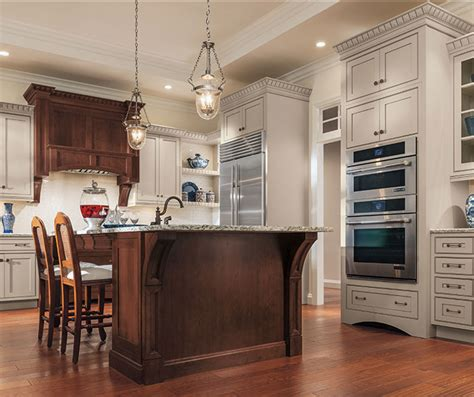 painted maple cabinets and cherry kitchen island decora