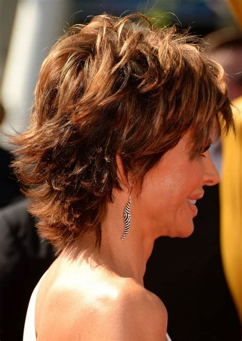 layered hairstyle for thick hair side view of lisa rinna